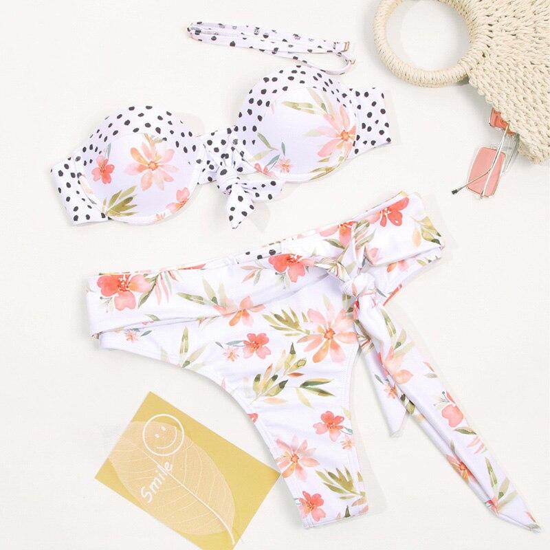 HTB1V401bgFY.1VjSZFqq6ydbXXaw Dot Patchwork Bandeau Bikini 2019 High Quality Push Up Bikinis Female Bikini Set Swimsuit Women'S Beach Feminino May Biquinis