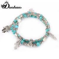 Duohan Natural Stone Anti Silver Copper Coated Beaded Handshape Women Charm Bracelet Stacking Decorative Amulet Bracelet