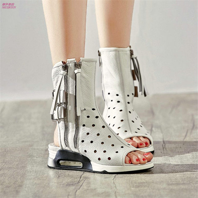 NAYIDUYUN    Punk Summer Sneakers Women Cow Leather Wedges Platform Roman Gladiator Sandals Open Toe High Top Pumps Casual Shoes