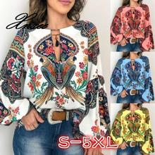 Plus Size S-5XL Personalized Indie Printed Tassel Shirt Women Fashion  Round Neck Long Sleeve Blouses