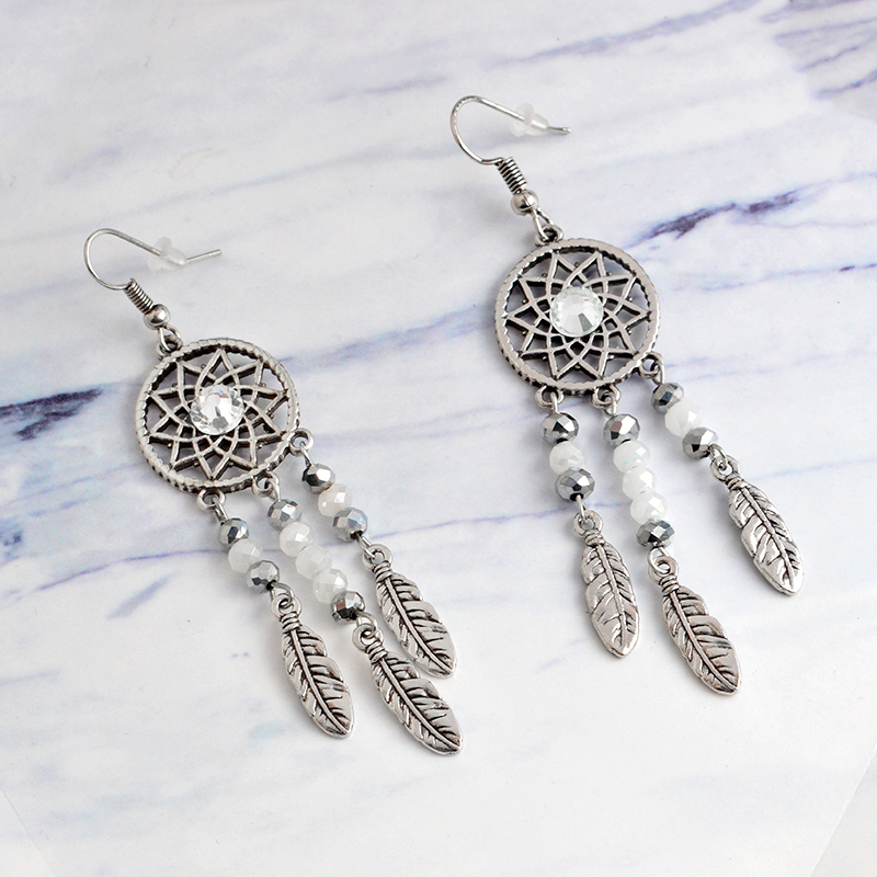 Vintage Fashion Bohemia Ethnic Dreamcatcher Drop Earrings Retro Feather beads Eardrops Charm Earrings Ear jewelry Women gift