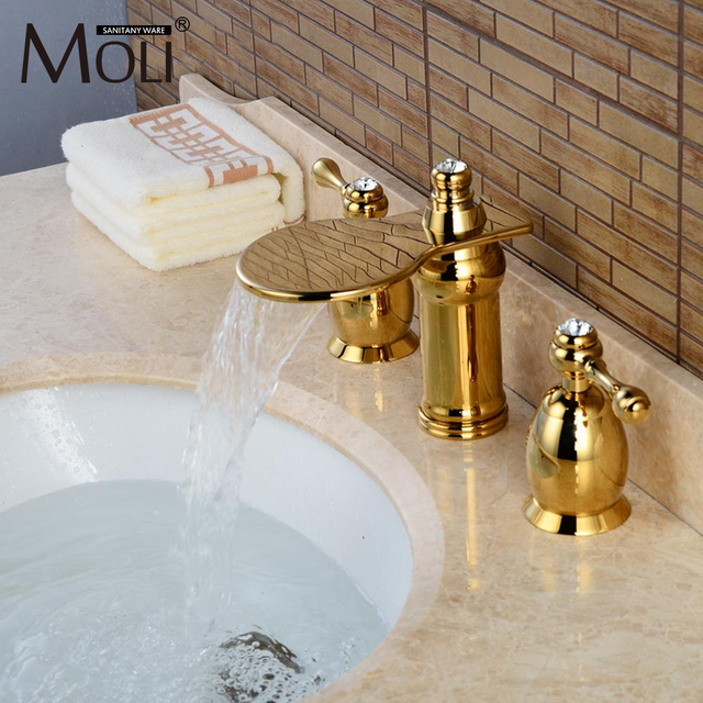 Luxury Gold Bathroom Sink Faucet Widespread Deck Mounted Waterfall Crystal  Handle Hot And Cold Water Mixer
