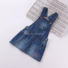 &E-babe&Wholesale 2016 NEW Summer Autumn Baby Kids Girls Jean Denim Cowboy Overalls Dress Toddlers Suspender 12Pcs Lot Free Ship