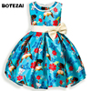 Moana Girls Floral Dress Party Wedding Costume With Pearl Gown Tutu Blue Dress Sleeveless Cartoon Kids