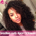 Brasileiro Kinky Curly Virgem Cabelo Com Fechamento Brasileira Afro Kinky Curly Cabelo Com Encerramento Peerless Virgem Do Cabelo Com Fecho