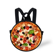 FORUDESIGNS Children School Bags Pizza Cappuccino Print Round Schoolbag For Kindergarten Baby Little Boys Girls Book