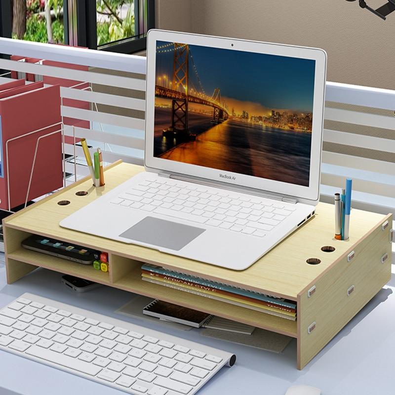 Bois hauteur ordinateur portable support surélevé cervicale bureau support de levage Vertical ordinateur bureau coussin Base support de montage