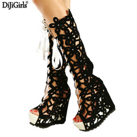 Fashion Brand GZ Shoes Woman 2014 Knee High Gladiator Sandals Strap High Heeled Boots Cutout Elevator