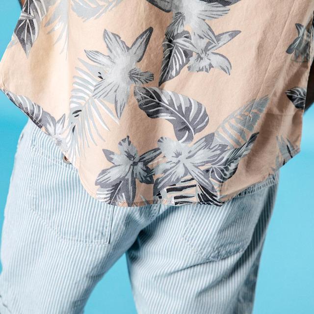 Men's Short Sleeve Shirts 100% Cotton Breathable Floral