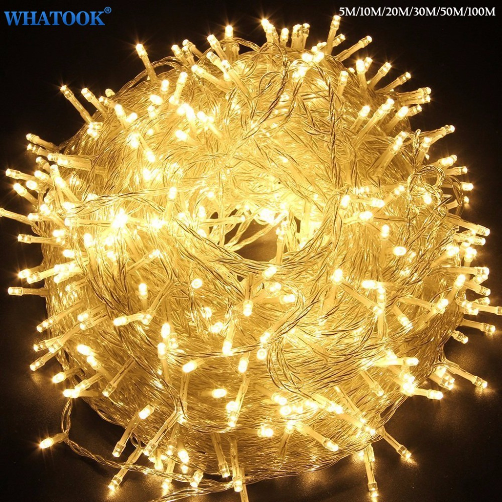 Christmas Outdoor String Lights Garland 5M 10M 20M 30M 50M 100M Waterproof LED Fairy Light for Wedding Party Xmas Holiday Light ac220v 50m 400leds eu plug fairy string light 8 modes outdoor chirstmas string garland for xmas wedding christmas party holiday