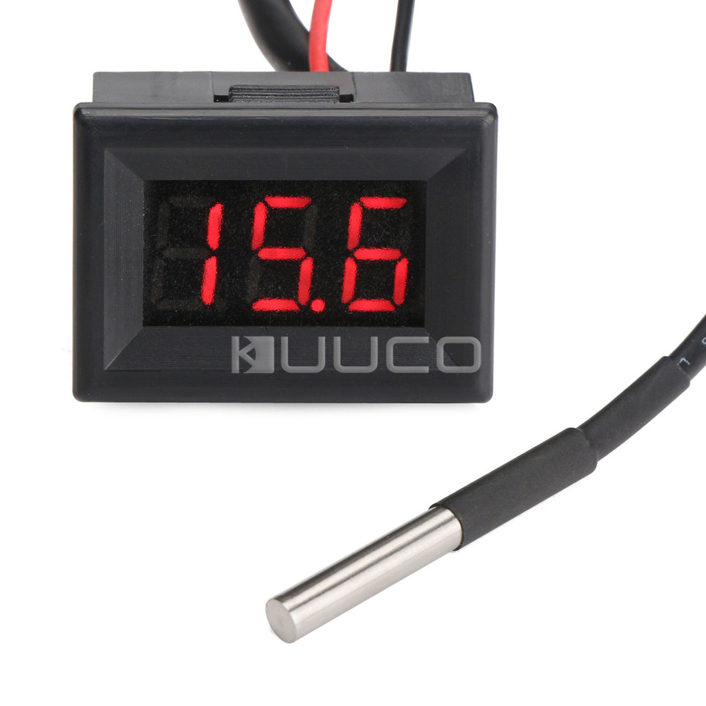 DC12V 24V Digital Meter 0.36 Red Led Thermometer -55 ~125 Celsius Degrees Temperature Tester for Car/Water/Air/Indoor/Outdoor 55 125 celsius degrees red led digital car thermometer temperature meter ds18b20 sensor page 1