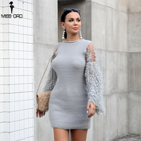 Missord 2018 sexy coat dress Tassel Knitted Sweater Sweet Round Neck Long Sleeve sweater Sweater dress TB0043