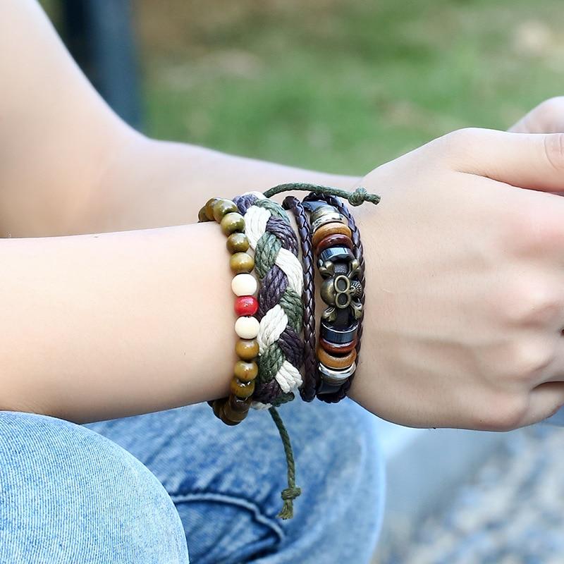 New Fashion Handmade Weave Vintage Boho Gypsy Hippie Cuff Beads Leather Infinity Charm Male Men Bracelets Women Female Jewelry