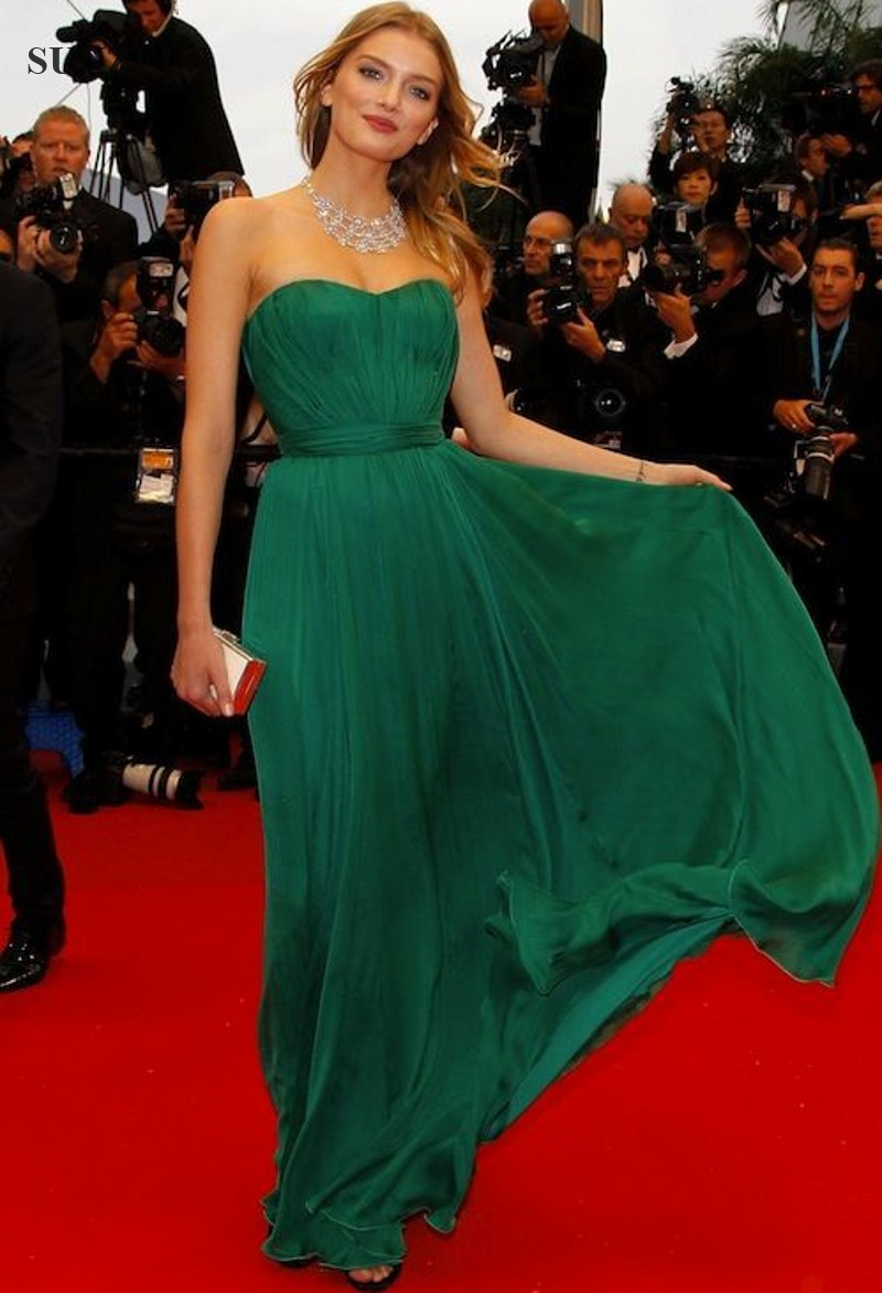 Emerald Green Formal Dress Celebrity Gowns Strapless Floor Length