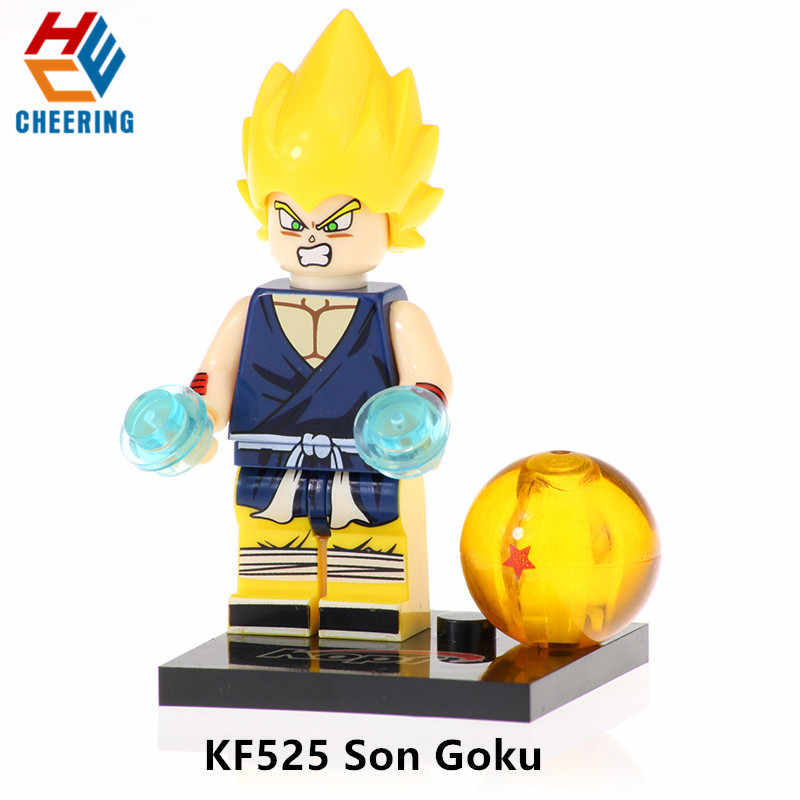 Única Venda Blocos de Construção Ball Z Son Goku Vegeta Goku Rose Uub Hit Preto Bonecas Figuras Bricks Brinquedos de Ação Para crianças KF528