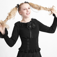 Gothic Lolita Women Sexy Black Long Sleeve Sweaters Steampunk O Neck Bodycon Sweet Sweater Tops