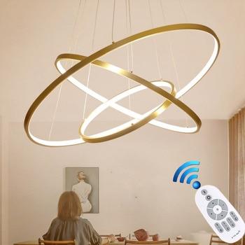 Oro Nero Bianco Lustro Moderno Lampadario Per Soggiorno Sala da pranzo Lampada A Sospensione Circolare luminaria doppia scalinata Lampadario