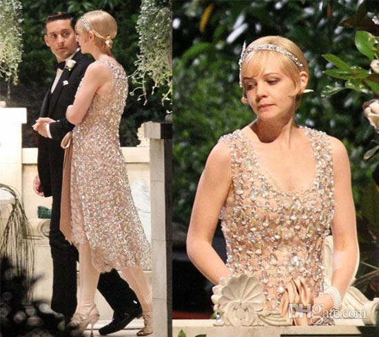 Vintage 2017 Luxury Bling Prom Dresses The Great Gatsby V Neck Tea Length With Crystal Beads Lace Party Gowns Ja775 In From Weddings
