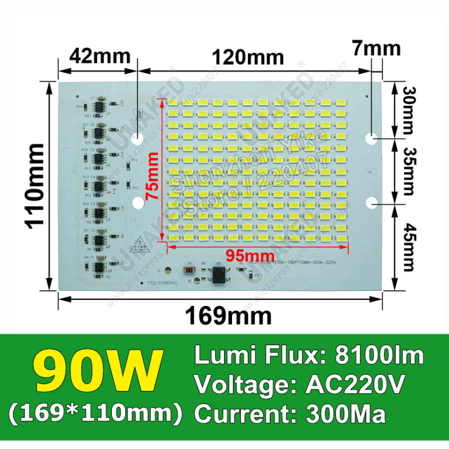 Real watt 90W 169x110mm AC 220V PCB smd geïntegreerde IC driver, PCB Geen behoefte driver, driverless printplaat direct naar ac 220v