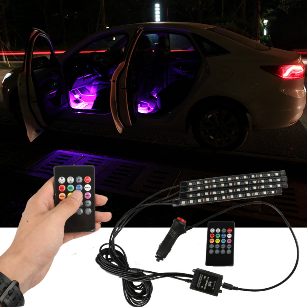 Image 2 - JURUS 4Pcs RGB Flexible Strip Led Car lights Interior Car Ambient Light Atmosphere Lamp Wireless Remote 12V Cigarette Lighter-in Decorative Lamp from Automobiles & Motorcycles