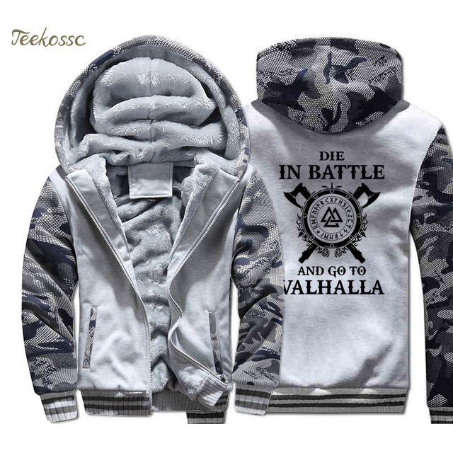 Odin Vikings Hoodie Coat Men Die In Battle And Go To Valhalla Hooded Sweatshirt 2018 Winter Fleece Thick Son of Odin Jacket Mens 3