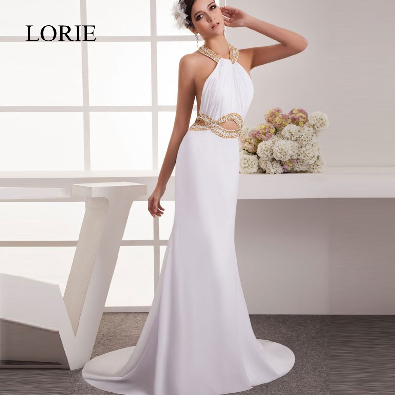 White Mermaid Long   Prom     Dresses   2018 Gold Crystal Beading Elegant Women Formal Evening Gowns Robe de Soiree Long Party   Dresses