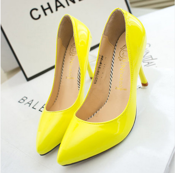 baeae49c27c 2014 Neon Yellow Thin Heel Pointed Loyal Blue Women's Pumps High Heels Red  Bottom Vintage Sexy Women shoes-in Women's Pumps from Shoes on  Aliexpress.com ...