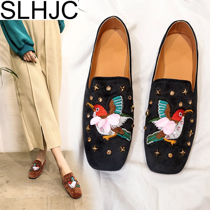 SLHJC Embroidery Bird Flats Shoes Women Spring Autumn New Flat Heel Boat Shoes With Fashion Rivet 2018 Newest new arrival 2014 fashion spring and autumn flats for women flat heel shoes suede bowknot flats women shoes free shipping