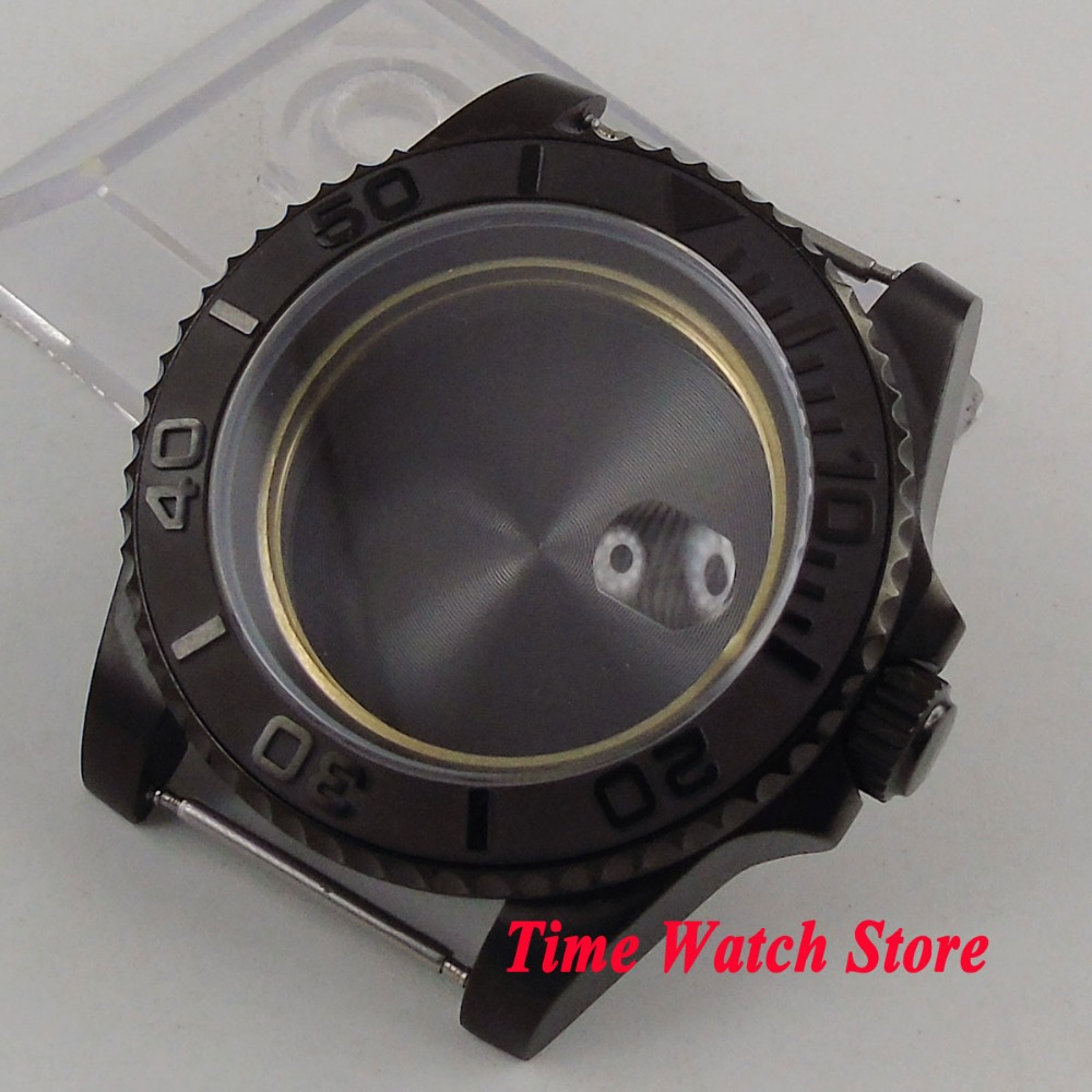 Parnis 40mm PVD coated watch case fit ETA 2836 movement Brushed ceramic bezel sapphire glass for