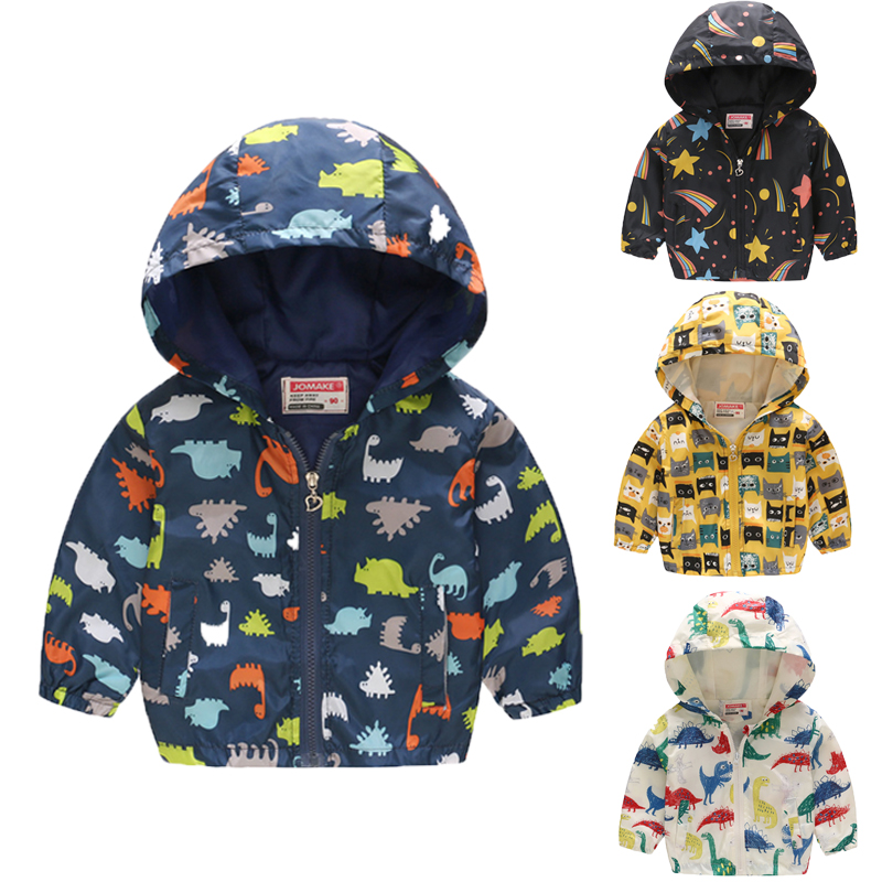 toddler boy coat Dinosaur Spring Autumn Children Kids Outerwear Active Windbreaker Clothes Clothing Baby boys hooded Jacket 2-8y