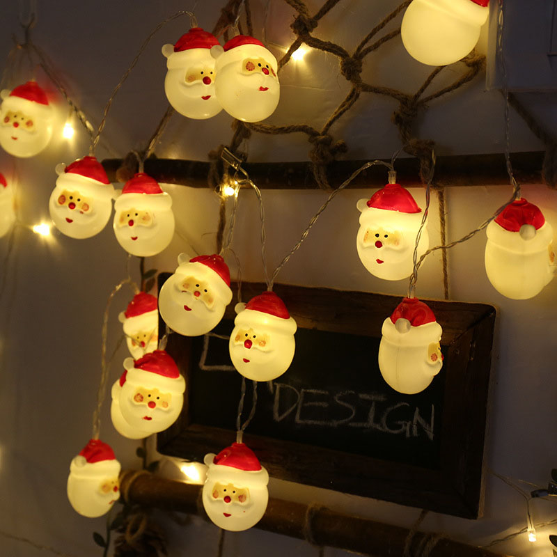 1.5M 10Led Snowman String Lights Santa Claus Christmas Holiday Decoration Lamp Battery Power Home Garden Festival Party Supplies