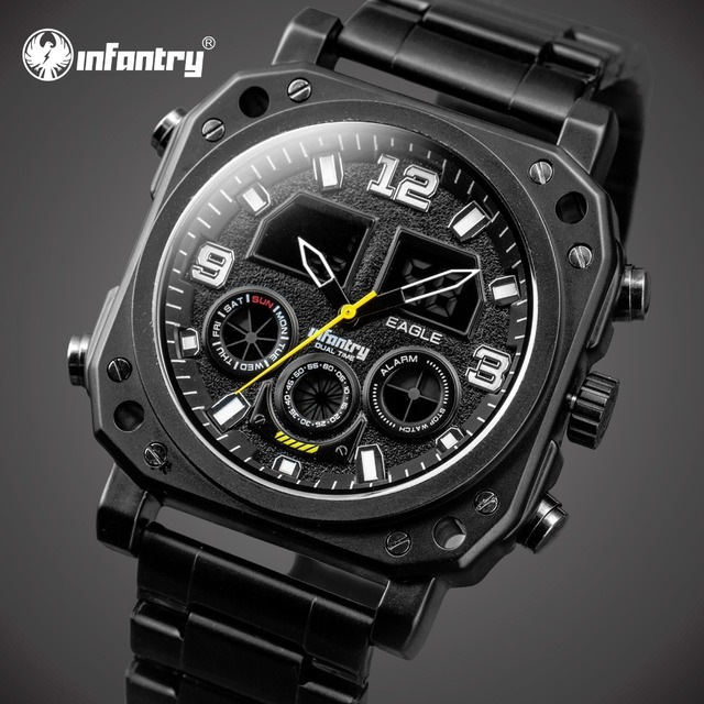 Homens de INFANTARIA Relógios de Luxo Grande Mostrador Analógico Digital Relógio de Pulso Relojes Relógio de Aço Completa Relógios de Quartzo Cronógrafo Luminosa