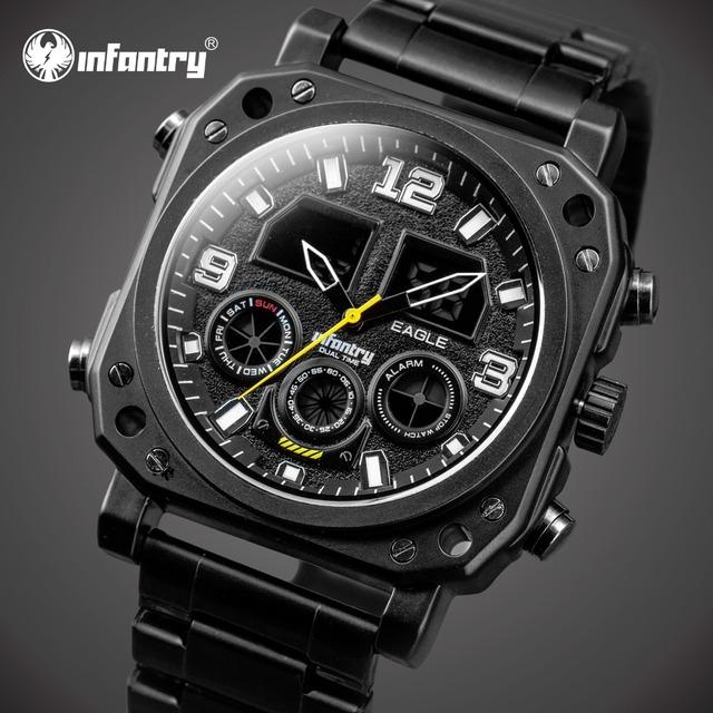INFANTERÍA Hombres Relojes de Lujo Gran Cara Del Dial Analógico Digital Reloj de Pulsera de Cuarzo de Acero Completa Relojes Relojes Luminosos Reloj Cronógrafo