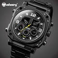 INFANTRY Men Watches Luxury Big Dial Face Analog Digital Wristwatch Relojes Full Steel Quartz Watches Luminous Chronograph Clock