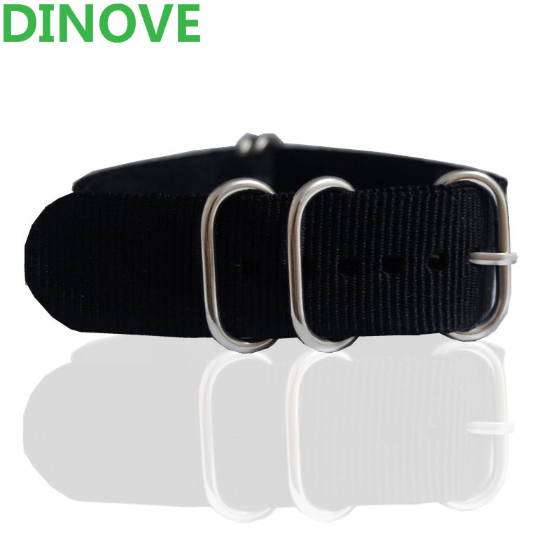 DINOVE 1pc Top Quality Black Nylon Watch Band 16MM 18MM 20mm 22mm 24mm Nato Watch Band Straps For Zulu 5 Rings Silver buckle special offer wholesale 20mm nylon zulu watch band straps black orange black rings