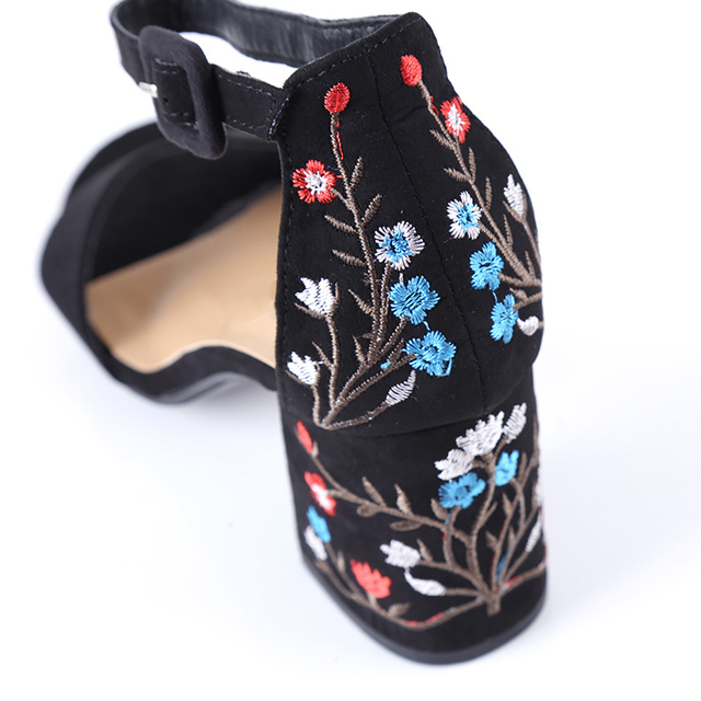 HENGSONG Women Sandals Embroider High Heel Women Sandals Ethnic Floral Sandalias Muje Party Shoes Zapatos Mujer TR913149 4
