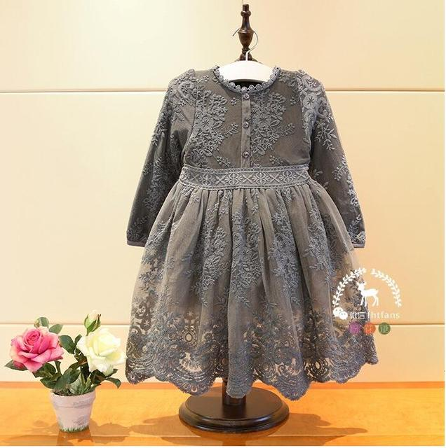 Vintage Girl Flower Lace Button Dresses Baby Girl Long Sleeve Embroidery Tulle  Dress Kids Wholesale 73c6183447c1