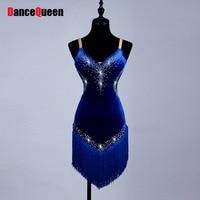 Hot Sale Ladies Latin Dancing Dress Custom Made Tassel Rhinestone Dancewear Women Chacha Ballroom Fitness Rehearsal