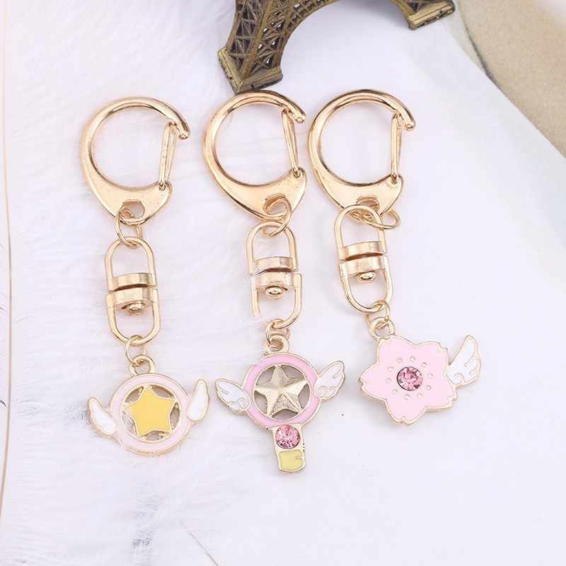 Cute Sweet DIY Anime Key Chain Pink Heart Shape Amazing Cherry Blossom Fashion Magic Card Keychain Female Kawaii Gold Key Ring