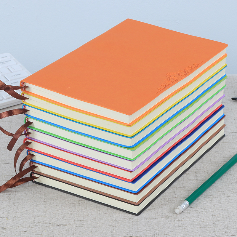 Coloffice 1PC A5 High Quality Soft Leather Cover Notebook Pure Color Office Notebook School Stationery Students  Gift Souvenir