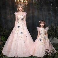 Mother Daughter Dresses for Wedding Bridal Gowns Dress Vestido De Women Kids Beach Wedding Dresses 2019 Family Matching Outfits