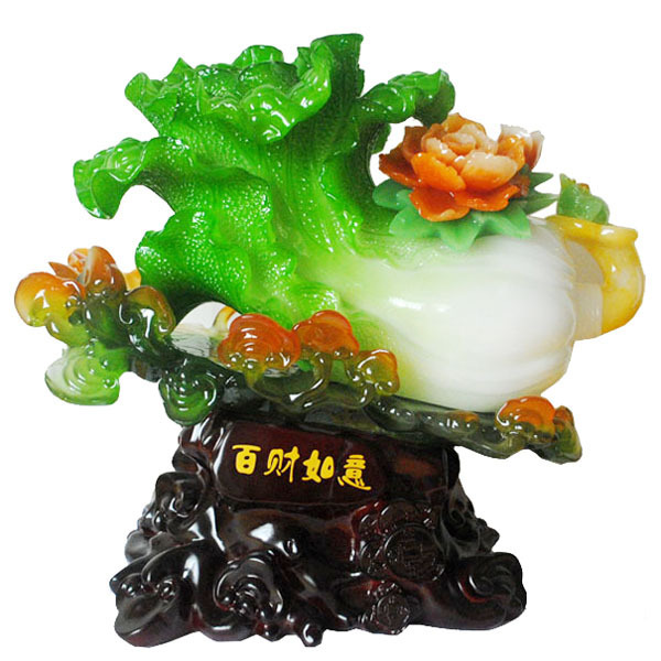 Resin craft one hundred financial jade ruyi chinese cabbage lucky decoration opening gifts new house home accessories