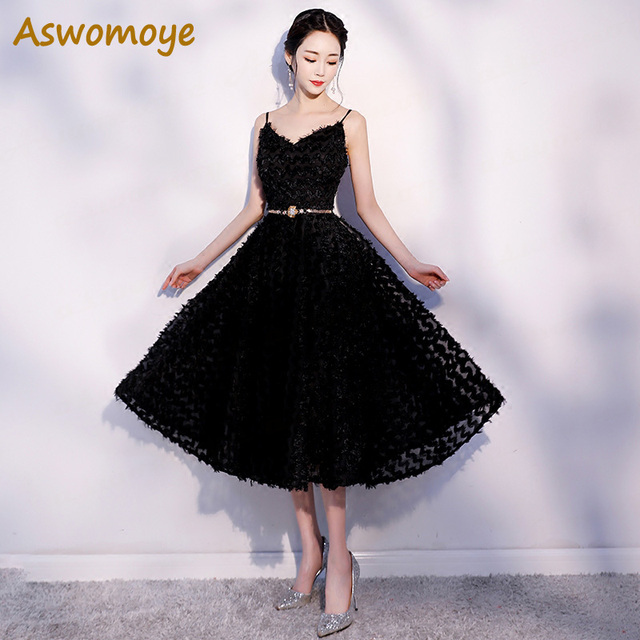 Aswomoye Elegant Black Short Evening Dress 2018 New Stylish Sexy V-Neck  Prom Dress Sleeveless Golden Metal Sashes robe de soiree 00432f4eab79