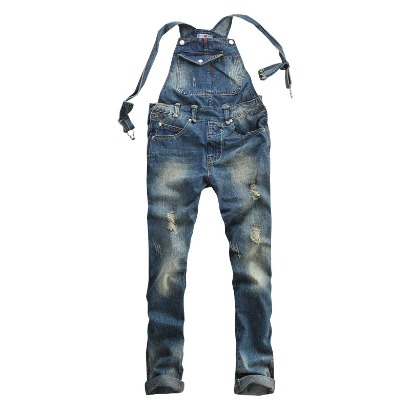 2016 Brand Fashion New Mens Ripped Denim Overalls Jeans Men's Clothing Casual Distrressed Jumpsuit Jeans Pants For Man Larg Size  new 2016 fashion brand women washed denim casual hole romper jumpsuit overalls jeans macacao feminino vintage ripped jeans