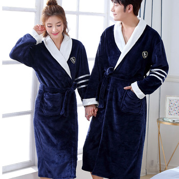 Thicken Warm Couple Style Flannel Robe Winter Long Sleeve Bathrobe Sexy V-Neck Women Men Nightgown Lounge Sleepwear Home Clothes 1