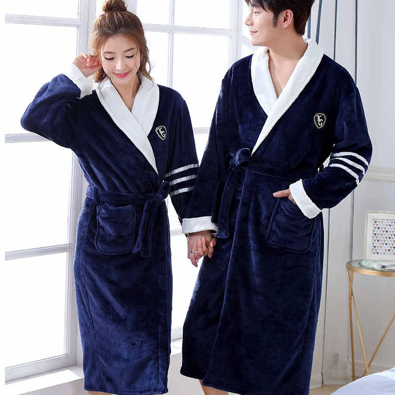 3265c6af95 Thicken Warm Couple Flannel Robe Winter Long Sleeve Bathrobe Sexy V-Neck Women  Men Nightgown