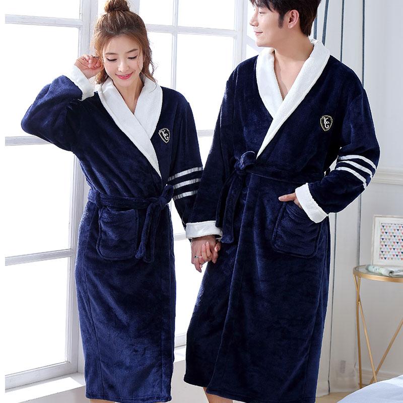 Thicken Warm Couple Style Flannel Robe Winter Long Sleeve Bathrobe Sexy V-Neck Women Men Nightgown Lounge Sleepwear Home Clothes