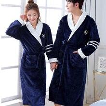 Thicken Warm Couple Style Flannel Robe Winter Long Sleeve Bathrobe Sexy V Neck Women Men Nightgown Lounge Sleepwear Home Clothes