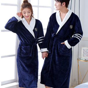 Image 1 - Thicken Warm Couple Style Flannel Robe Winter Long Sleeve Bathrobe Sexy V Neck Women Men Nightgown Lounge Sleepwear Home Clothes
