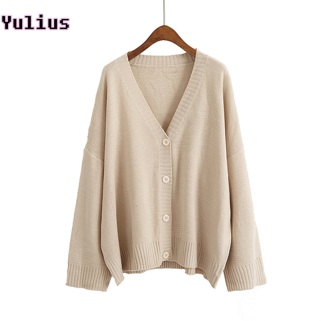 cc9f6797bb Autumn Women Sweater Solid Apricot Casual Knitted Cardigan V-neck Long  Sleeve Button Loose Cardigans